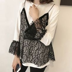 Little V - Long-Sleeve Lace Mock Two Piece T-Shirt