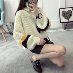 Qimi - Mock Neck Thick Sweater