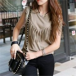 PIPPIN - Sleeveless Fringed Cotton Top