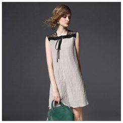 Y:Q - Tie Neck Linen Sleeveless Dress