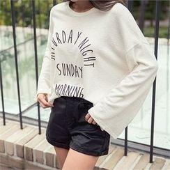 ERANZI - Slit-Cuff Lettering T-Shirt
