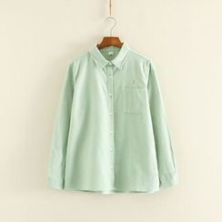 Mushi - Embroidered Long-Sleeve Blouse