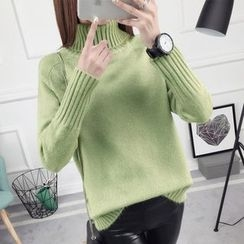 anzoveve - Plain Turtleneck Sweater
