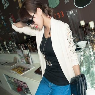 CUTIE FASHION - Chiffon-Panel Crocheted Jacket