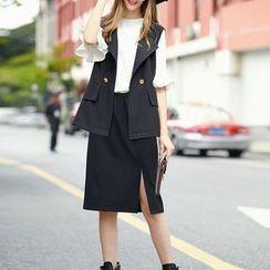 S. Tornado - Set: Buttoned Vest + Slit-Front Skirt