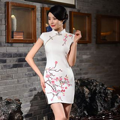 Montebelle - Embroidered Cap-Sleeve Cheongsam