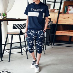 Danjieshi - Set: Hooded Lettering T-Shirt + Cropped Sweatpants