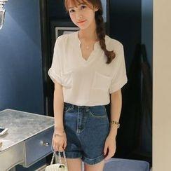 Nyssa - V领短袖衬衫