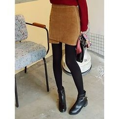 LOLOten - Wrap-Front Corduroy Mini Skirt