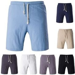 Bay Go Mall - Linen Cotton Drawstring Shorts
