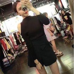 Mi Camilla - Set: Long-Sleeve Cutout-Shoulder Knit Top + Wide-Leg Shorts