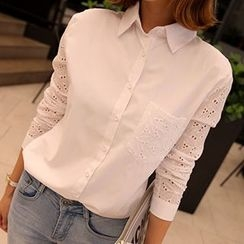 Lovebirds - Eyelet-Lace Long-Sleeve Shirt