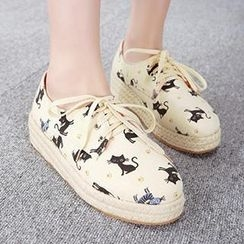 Mancienne - Cat-Print Espadrille Sneakers