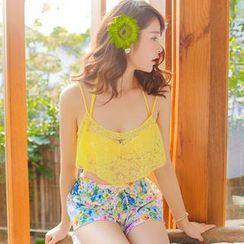 Rachel Swimwear - 套裝: 比基尼 + 蕾絲短上衣 + 碎花短褲