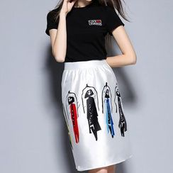 Merald - Set: Embroidered Short Sleeve T-Shirt + Print A-line Skirt