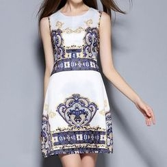 Merald - Print Sleeveless A-line Dress