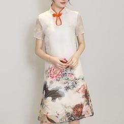 Diosa - Floral Print Short Sleeve Cheongsam