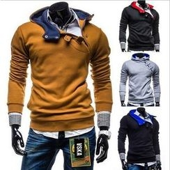 Free Shop - Two-tone Hooded Pullover