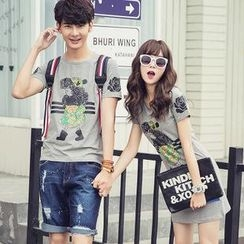 Simpair - Couple Set: Print T-Shirt + Print T-Shirt Dress