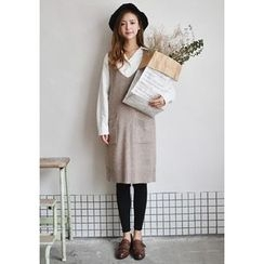GOROKE - Wool Blend Knit Jumper Dress