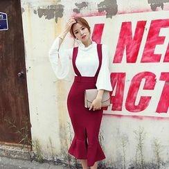DABAGIRL - Ruffle-Hem Suspender Skirt