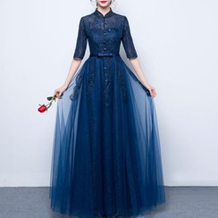Luxury Style - Stand Collar Elbow Sleeve Evening Gown