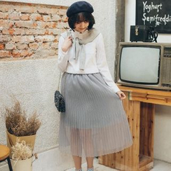 11.STREET - Accordion Pleated Tulle Skirt