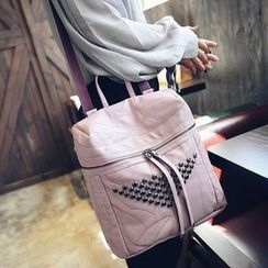 Merlain - Studded Convertible Faux Leather Backpack