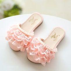绿豆蛙童鞋 - 小童蕾丝凉拖