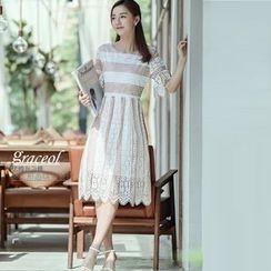 Harmonium - Lace Elbow-Sleeve Midi Dress