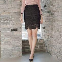 ERANZI - Lace-Overlay Pencil Skirt