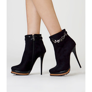 yeswalker - Faux Suede Chain-Accent Ankle Boots