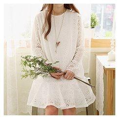 Sechuna - Round-Neck Ruffle-Hem Lace Dress