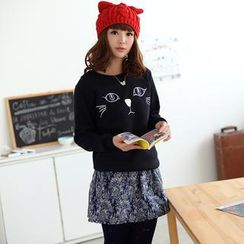 59 Seconds - Cat-Embroidered Pullover