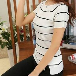 FR - Striped Short Sleeve Knit Top