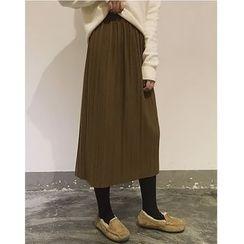 時尚麻豆家 - 純色打褶中裙