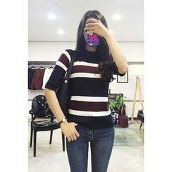 OZNARA - Short-Sleeve Stripe Knit Top