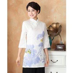 Venesia - Flower Print 3/4 Sleeve Cheongsam Top