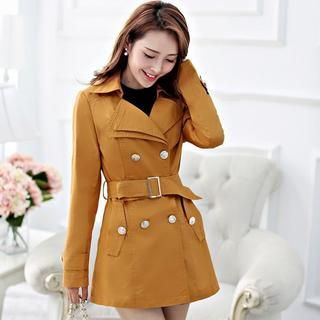 Aierys - Double-Breasted Belted Trench Coat