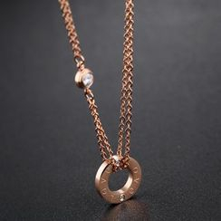 Creole - Rhinestone Pendant Necklace