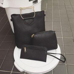 Yellowtail - 套裝: 貓型手柄斜挎包 + 拉鏈小袋 + 卡套