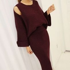 DABAGIRL - Set: Cutout-Shoulder Knit Top + Long Pencil Skirt