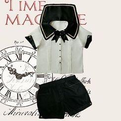 Rega - Set: Short Sleeve Sailor Collar Shirt + Plain Shorts