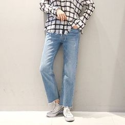NANING9 - Fray-Hem Washed Boot-Cut Jeans