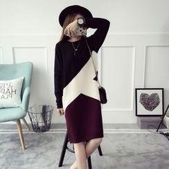 Qimi - 撞色針織連衣裙