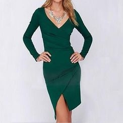 Eloqueen - V-Neck Slit-Front Sheath Dress