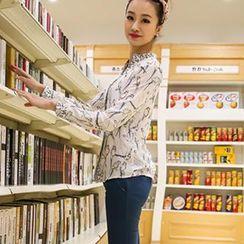 Colorful Shop - Long-Sleeve Bird-Print Chiffon Shirt