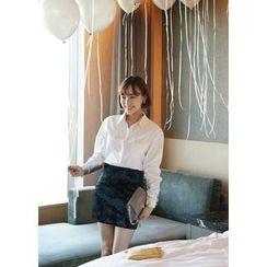 ssongbyssong - Velvet Pencil Skirt