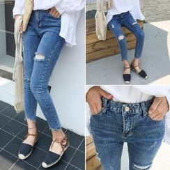 Jeans Kingdom - Cropped Ripped Skinny Jeans
