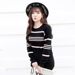 CAIDOBLE - Long-Sleeve Striped Knit Top